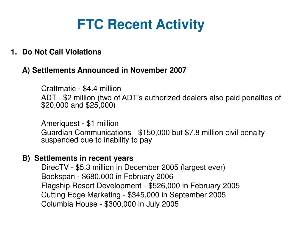 FTC Recent Activity