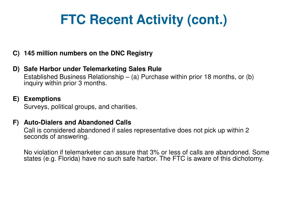 FTC Recent Activity (cont.)