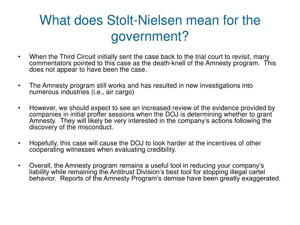 What does Stolt-Nielsen mean for the government?