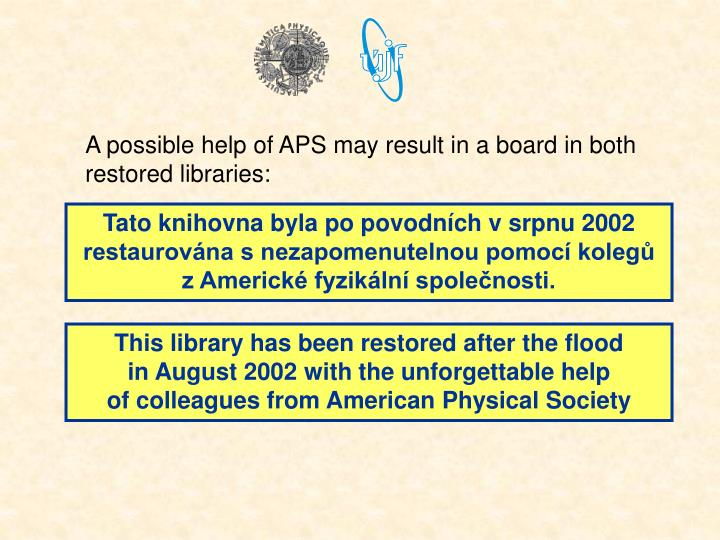 A possible help of APS may result in a board in both restored libraries: