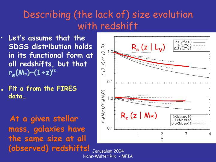 Describing (the lack of) size evolution with redshift