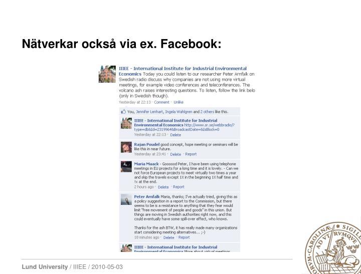 Nätverkar också via ex. Facebook: