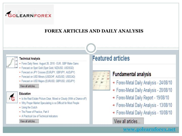 FOREX ARTICLES AND DAILY ANALYSIS