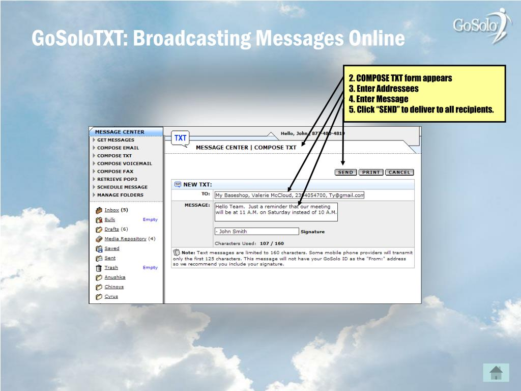 GoSoloTXT: Broadcasting Messages Online