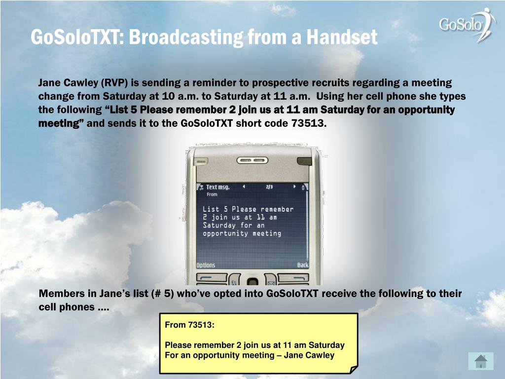GoSoloTXT: Broadcasting from a Handset