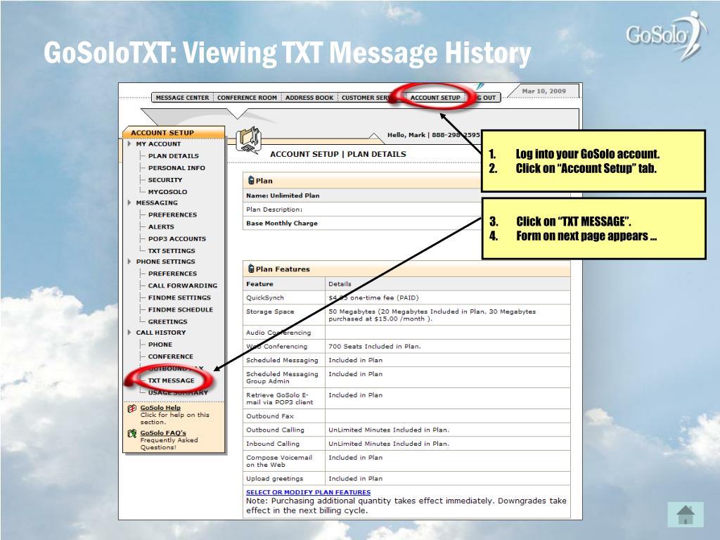 GoSoloTXT: Viewing TXT Message History