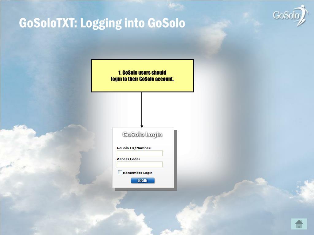 GoSoloTXT: Logging into GoSolo