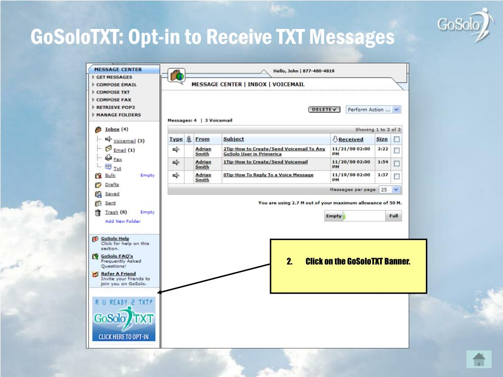 GoSoloTXT: Opt-in to Receive TXT Messages
