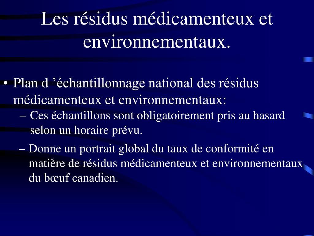 Les résidus médicamenteux et environnementaux.