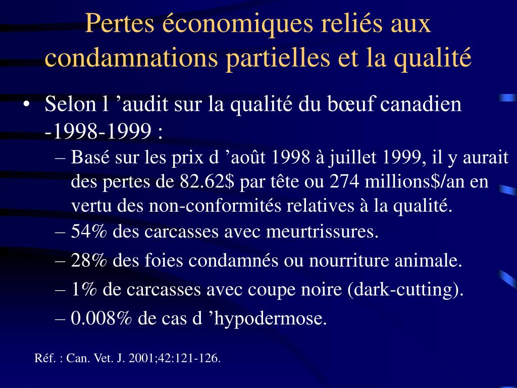Pertes économiques reliés aux condamnations partielles et la qualité