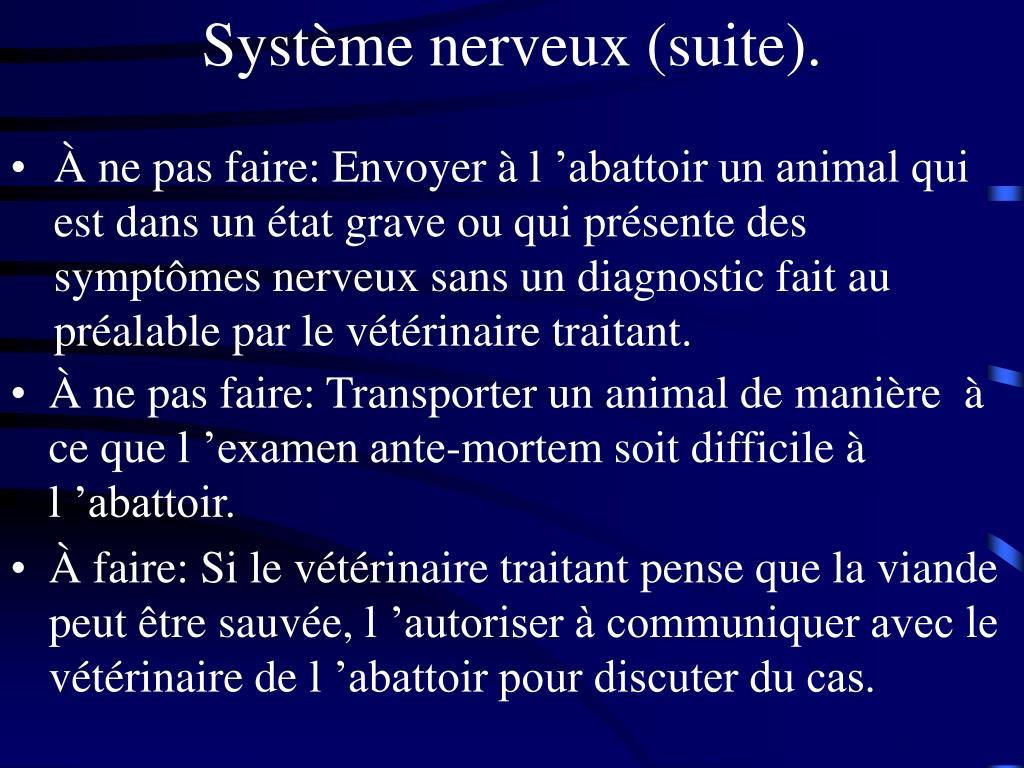 Système nerveux (suite).