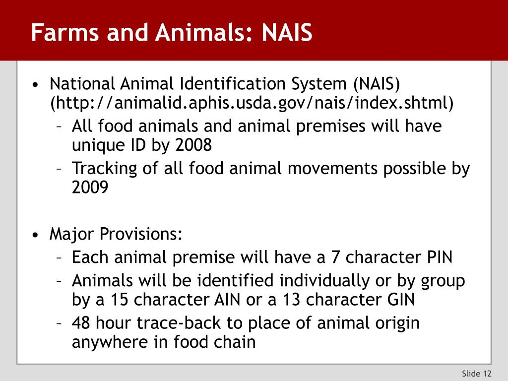Farms and Animals: NAIS