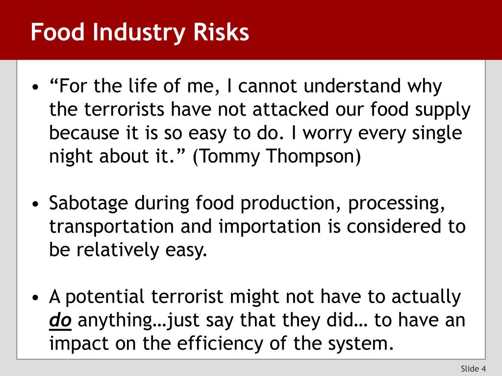 Food Industry Risks