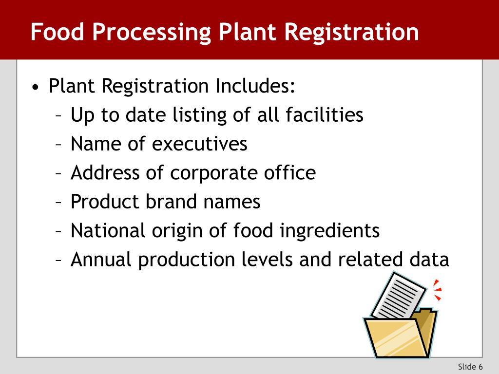 Food Processing Plant Registration