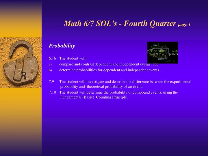 Math 6/7 SOL's - Fourth Quarter