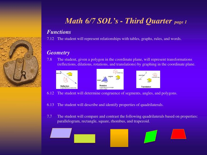Math 6/7 SOL's - Third Quarter