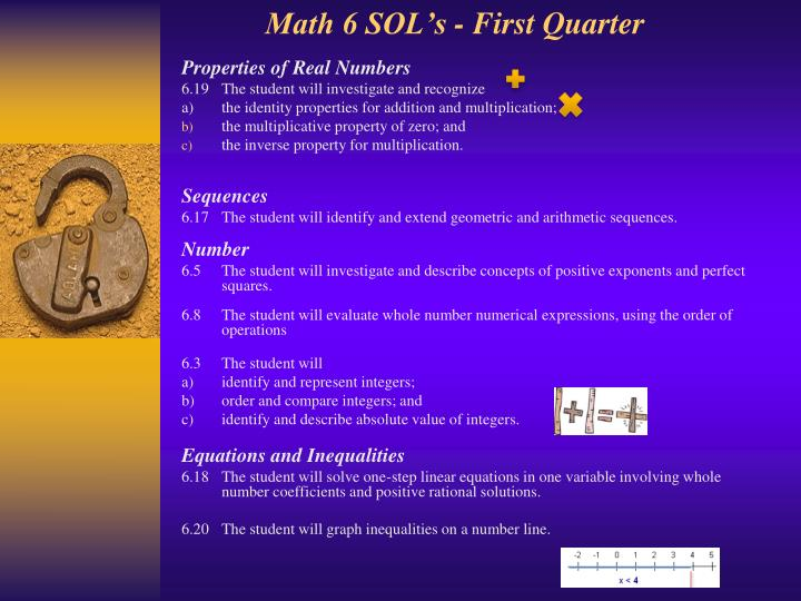 Math 6 SOL's - First Quarter