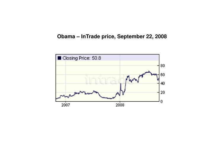 Obama – InTrade price, September 22, 2008