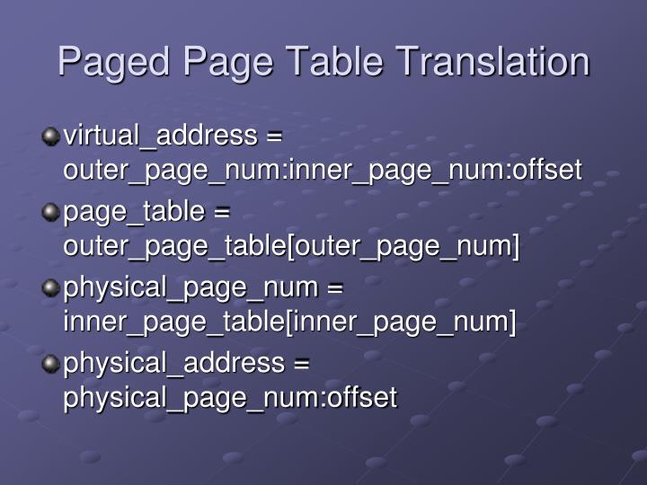 Paged Page Table Translation