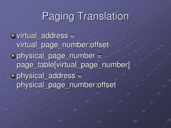 Paging Translation