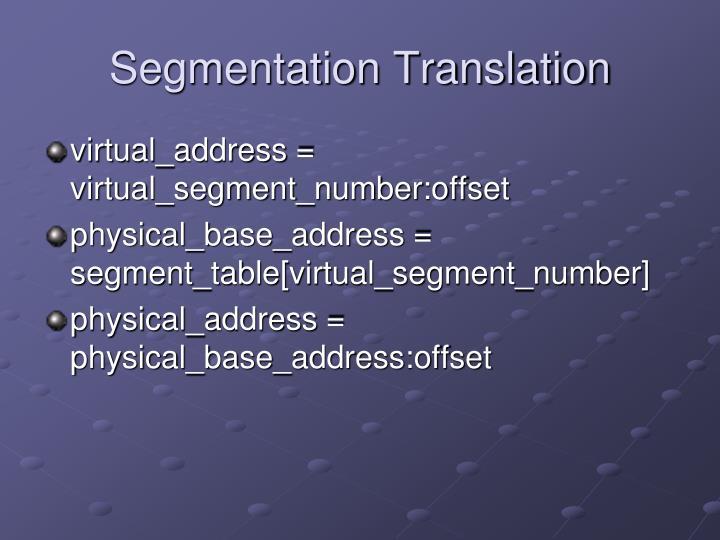 Segmentation Translation