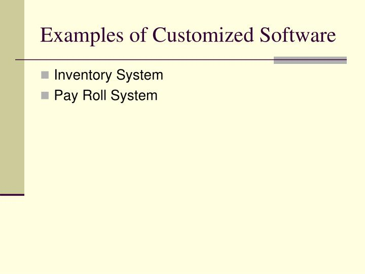 Examples of Customized Software