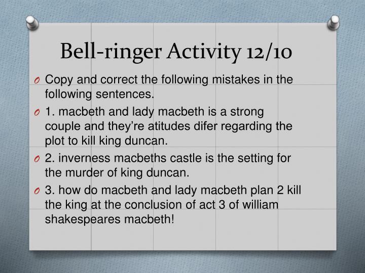 Bell-ringer Activity 12/10