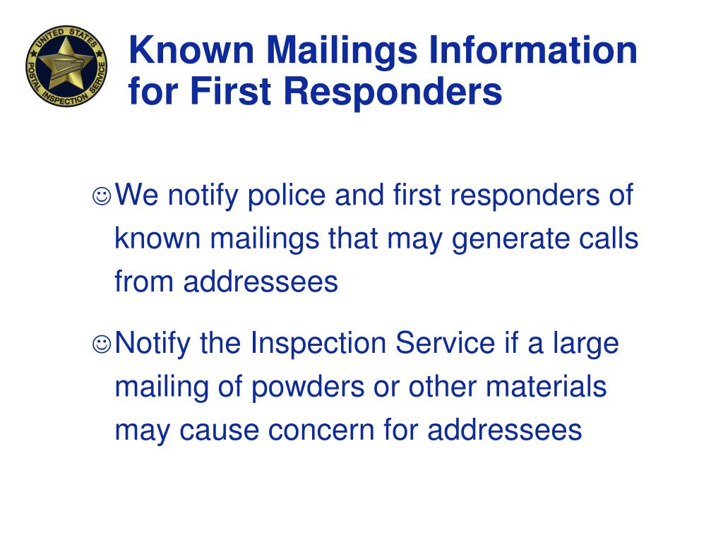 Known Mailings Information for First Responders