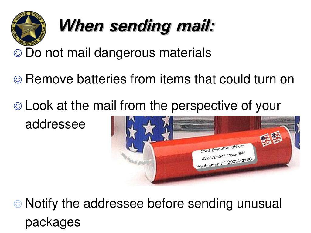 When sending mail: