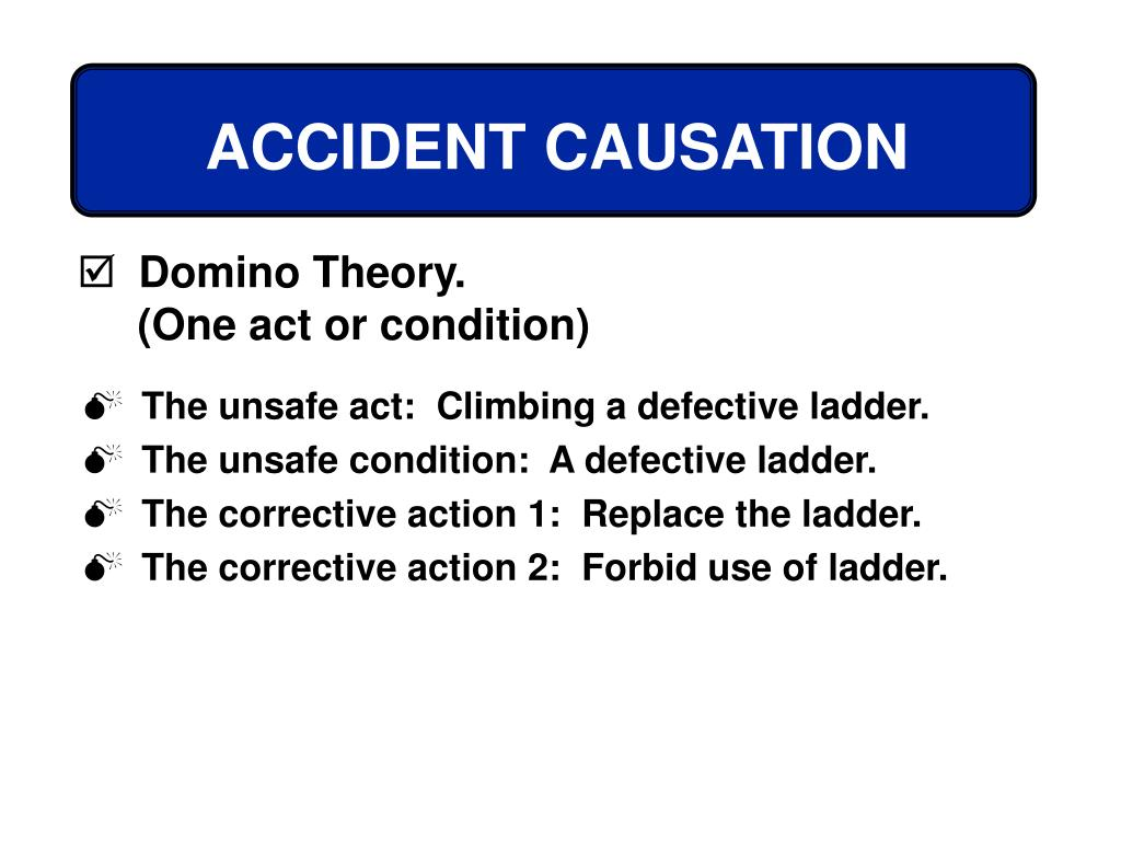 The unsafe act:  Climbing a defective ladder.