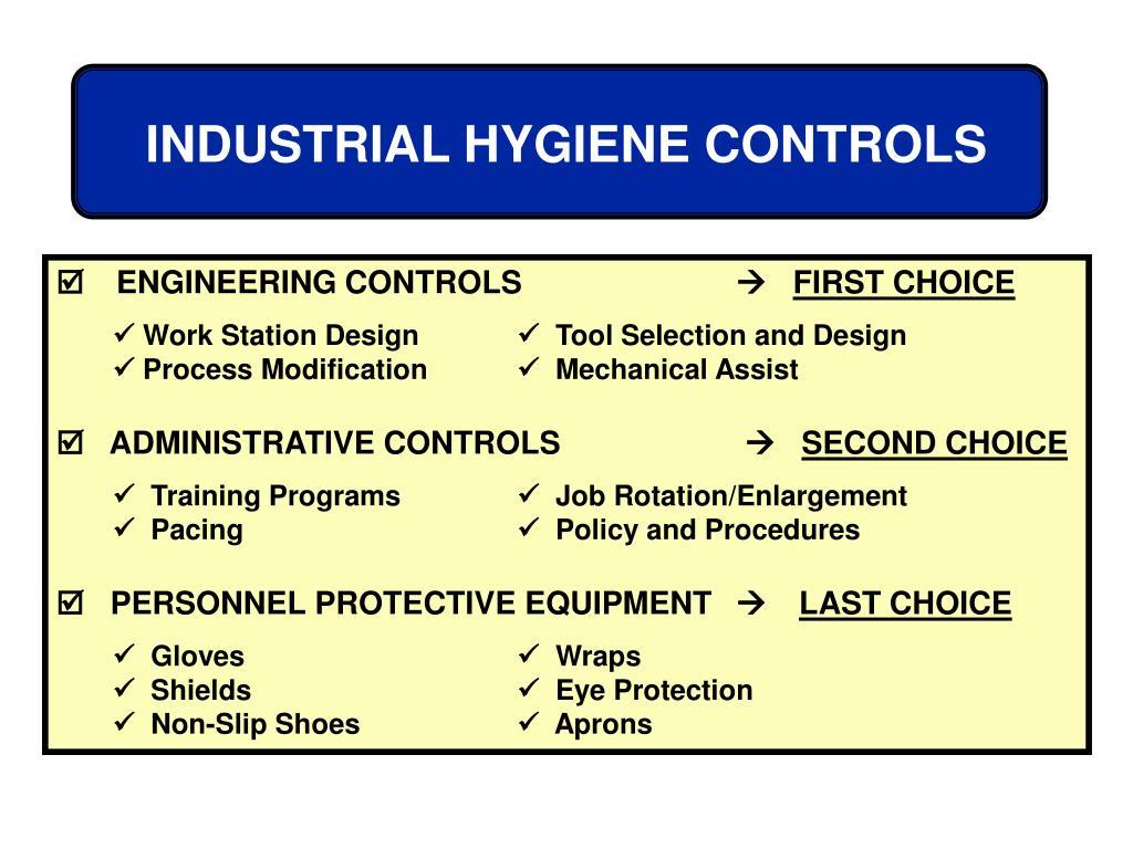INDUSTRIAL HYGIENE CONTROLS