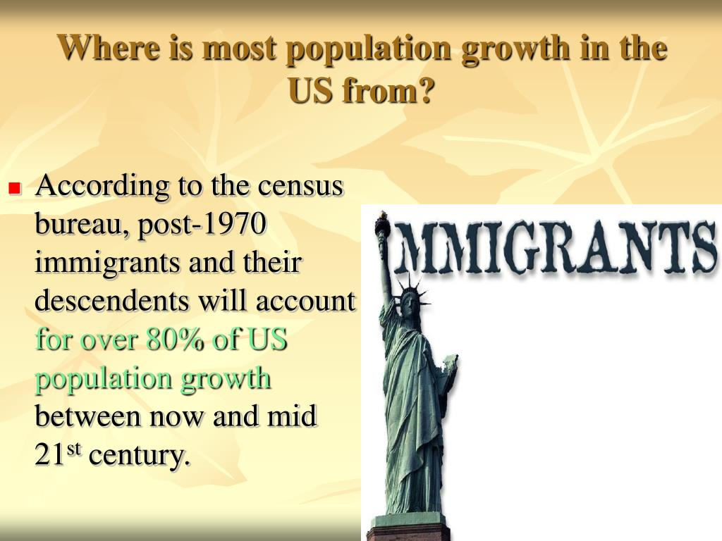 Where is most population growth in the US from?