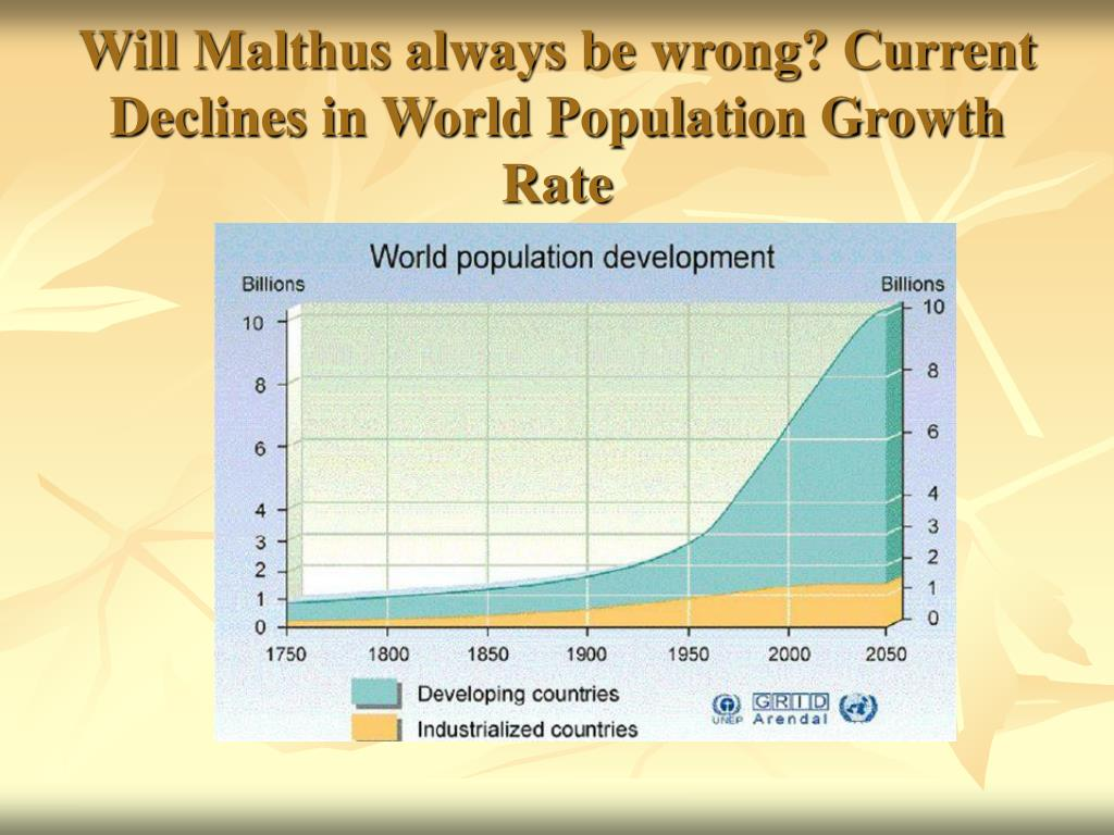 Will Malthus always be wrong? Current Declines in World Population Growth Rate