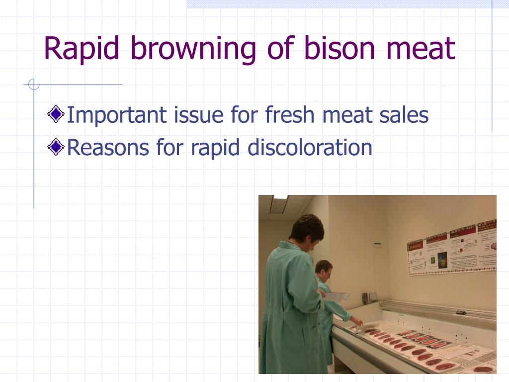 Rapid browning of bison meat