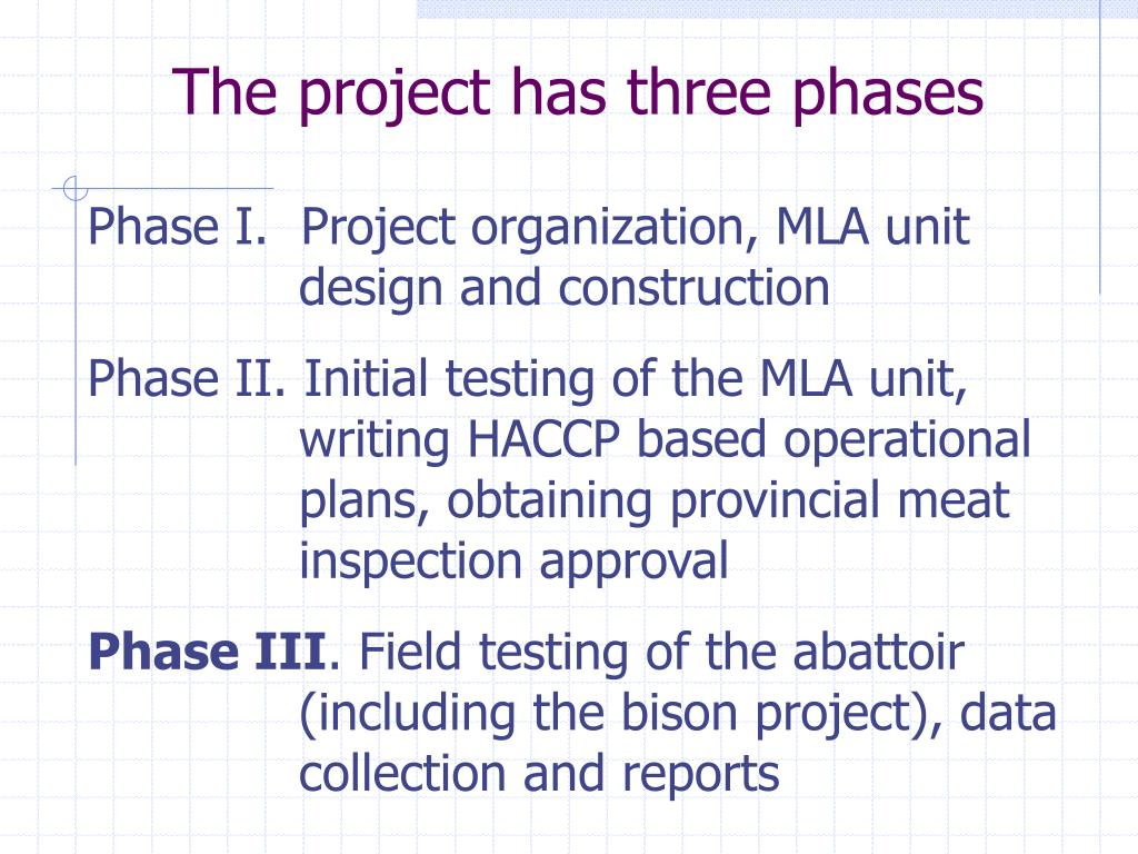 The project has three phases