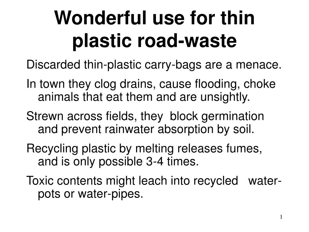 Ppt wonderful use for thin plastic road waste powerpoint presentation id 144194 - Rd wastebasket ...