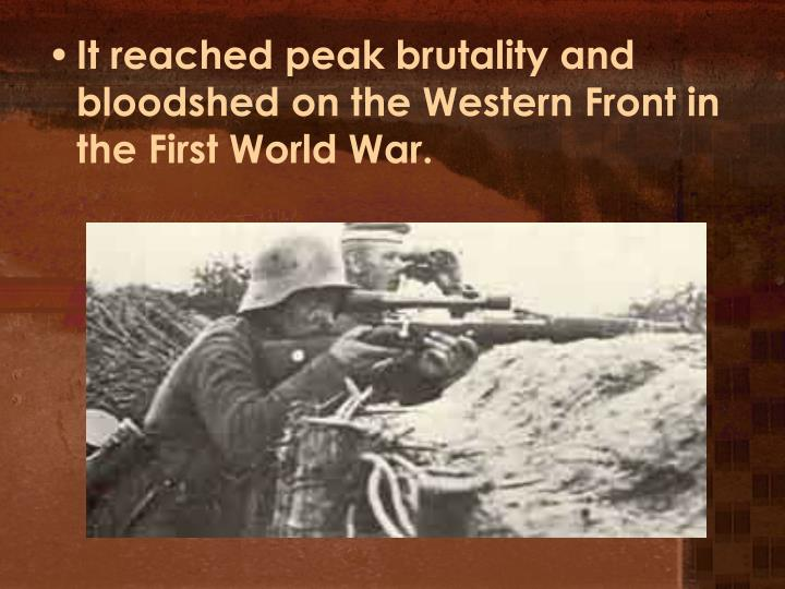 It reached peak brutality and bloodshed on the Western Front in the First World War.