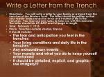 write a letter from the trench