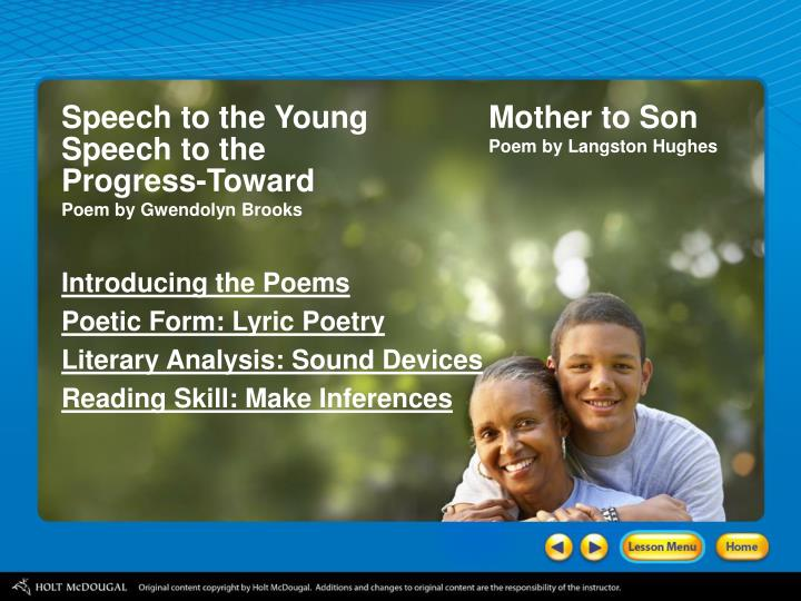 Literary analysis on the mother by gwendolyn brooks