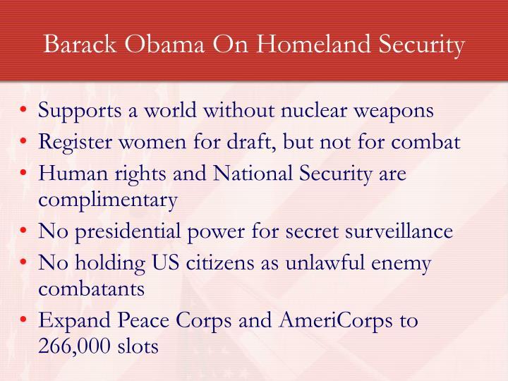 Barack Obama On Homeland Security
