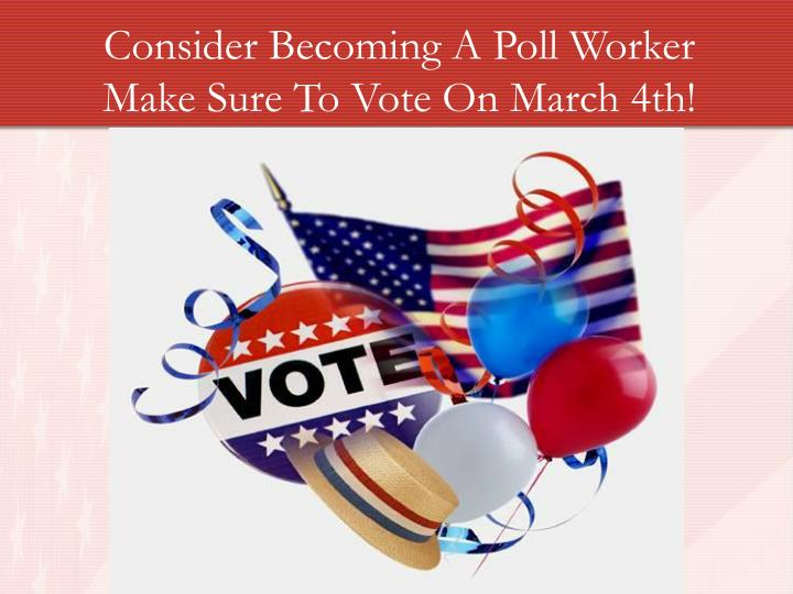 Consider Becoming A Poll Worker