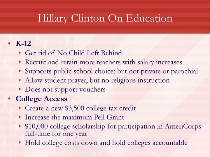 Hillary Clinton On Education