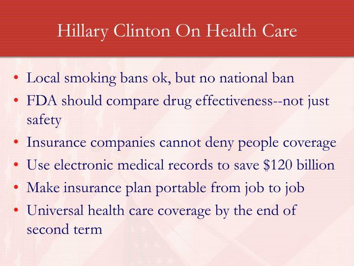 Hillary Clinton On Health Care