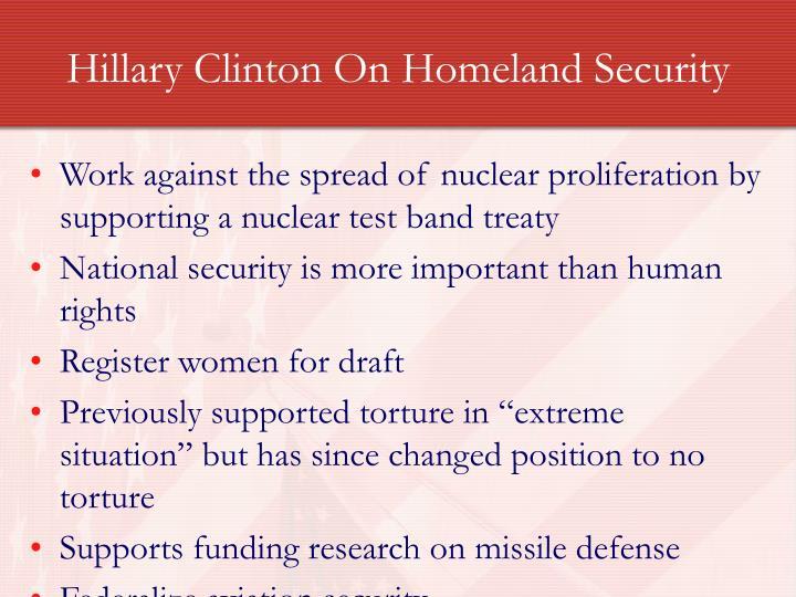 Hillary Clinton On Homeland Security