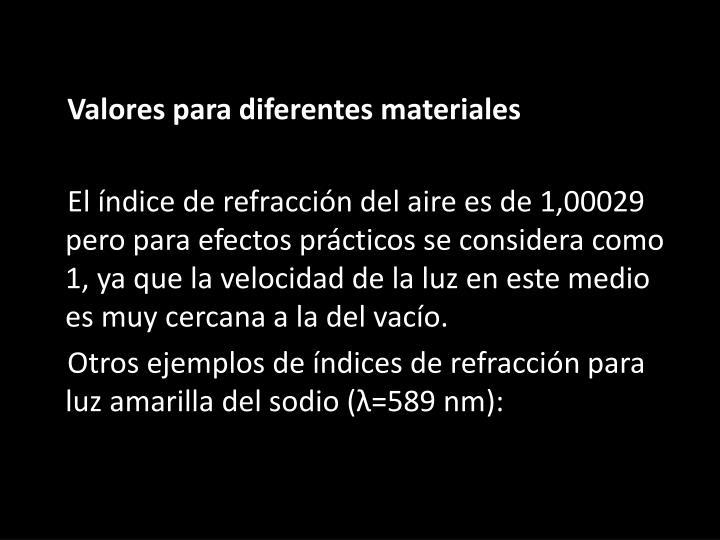 Valores para diferentes materiales