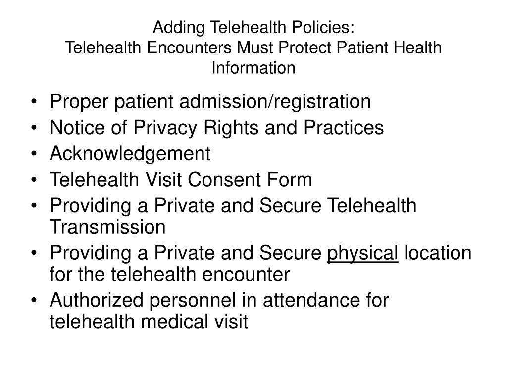 Adding Telehealth Policies: