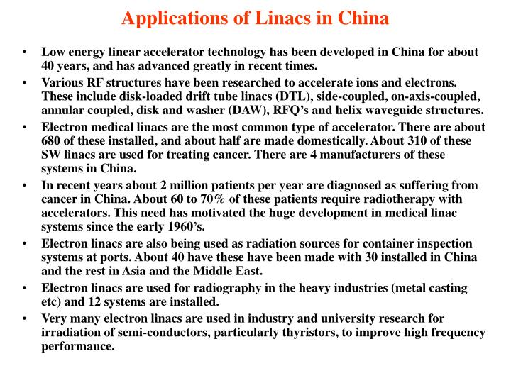 Applications of linacs in china