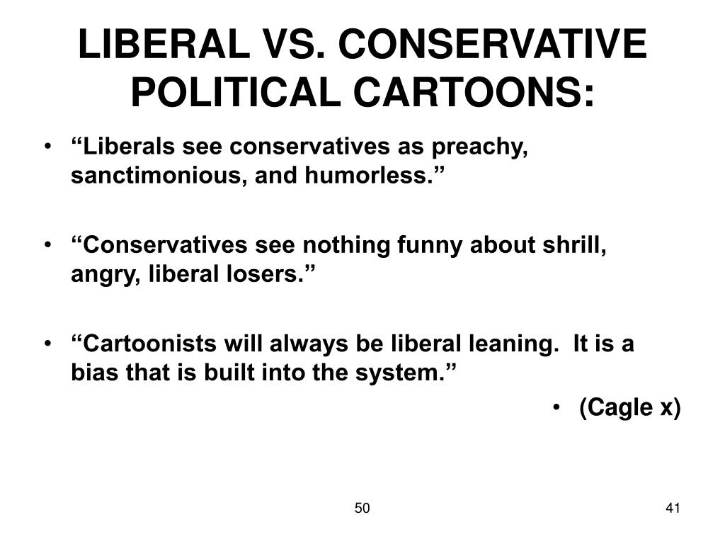 LIBERAL VS. CONSERVATIVE POLITICAL CARTOONS: