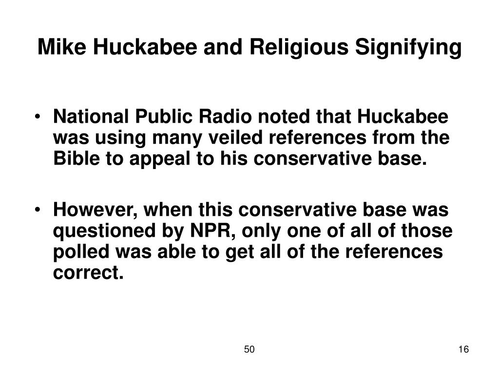 Mike Huckabee and Religious Signifying