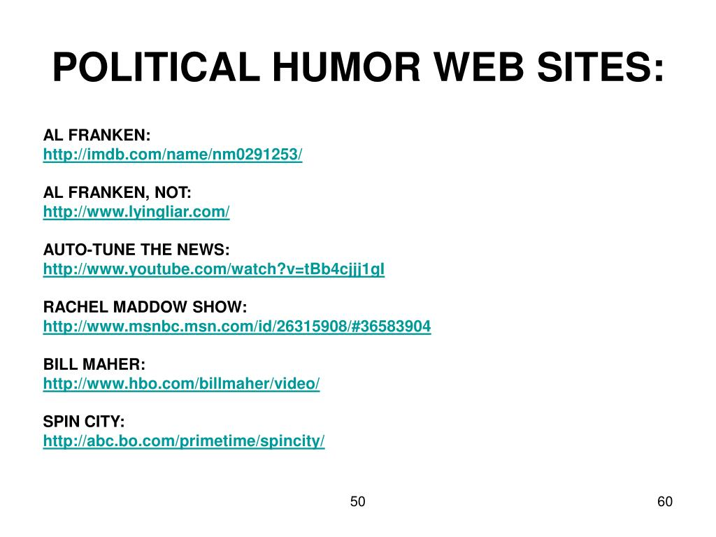 POLITICAL HUMOR WEB SITES: